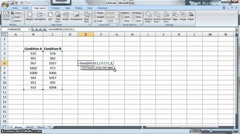 test t student excel t test in microsoft excel