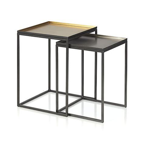 black nesting end tables iron frame minimalist nesting side table
