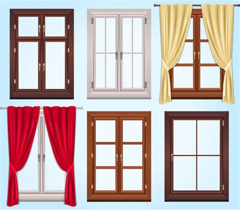 colored window colored windows and curtains vector free