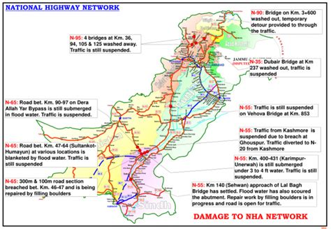 road map from usa to pakistan pakistan damage to national highway network as of 26 aug