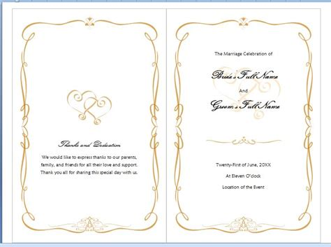 microsoft word program template free ms word family wedding program template formal word