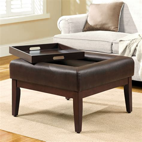 Ottoman Coffee Table Tray Simple Modern Square Tufted Ottoman Coffee Table With Tray Storage Built In Brown Leather