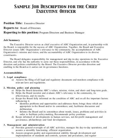 chief executive officer description 7 chief marketing officer description sles