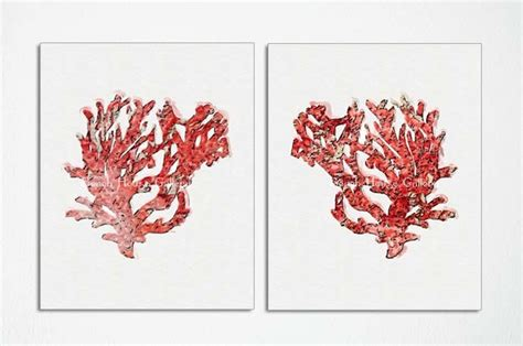 red coral home decor coral wall art red coral red coral prints custom sizes