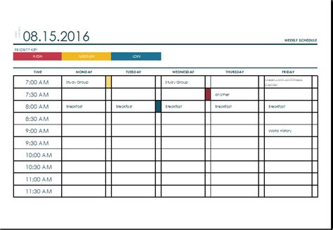 weekly task list template excel weekly schedule template excel eskindria