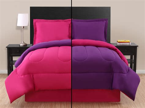 twin pink purple reversible comforter set