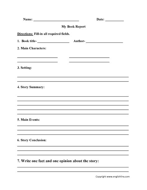 4th Grade Book Report Outline