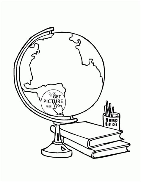 globe and school supplies coloring page for kids back to