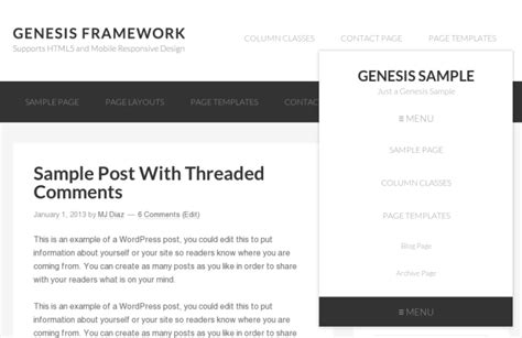 x theme blog navigation mobile responsive header menu for genesis sle theme