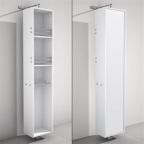 April Rotating Floor Linen Cabinet White Finish with Mirror