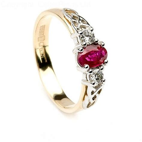 Wedding Ring Ruby by Ruby Engagement Ring With Knots Celtic Rings Ltd