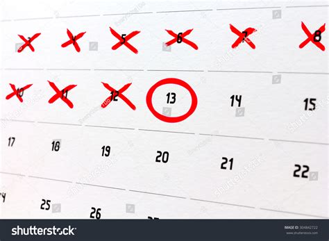 Counting Calendar Days Counting The Days On A Calendar Stock Photo 304842722