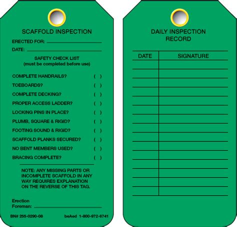 scaffold inspection tag green
