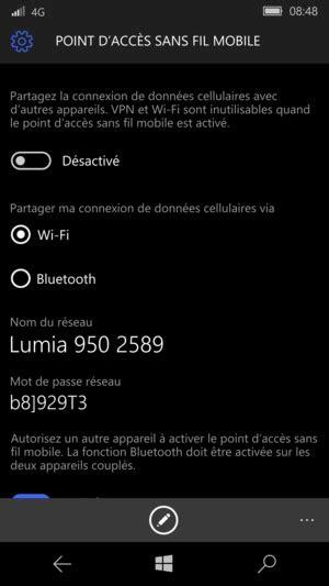 Utilisez votre téléphone comme modem - Microsoft Lumia 550