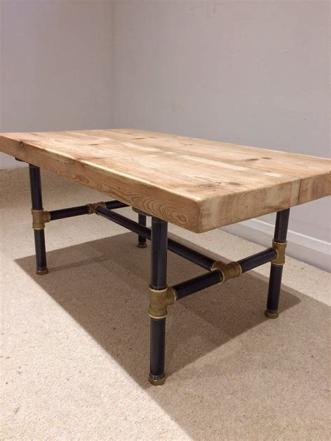 Black Pipe Table by Reclaimed Pine Beam Coffee Table With Black