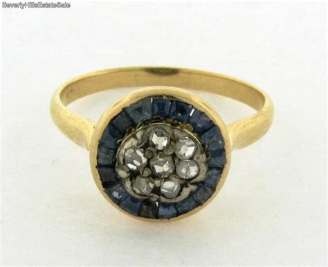 antique sapphire 18k yellow gold ring ebay