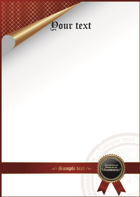 certificate cover template vector free vector in