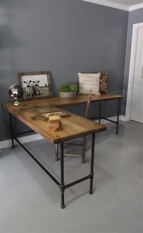 industrial desk l industrial l shaped desk wood desk pipe desk reclaimed by