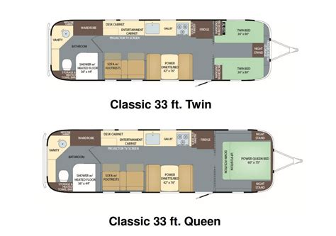 airstream floor plans floorplans for the new 2018 airstream classic 33 this is