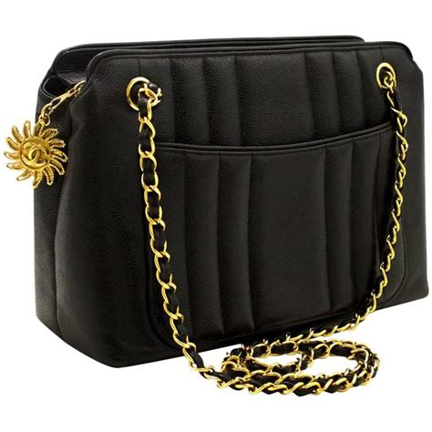 chanel caviar sun gold chain shoulder bag black quilted