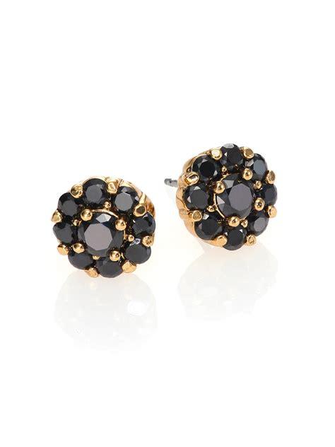 black earrings in gold kate spade new york rise shine flower stud earrings