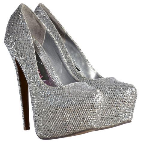 onlineshoe sparkly silver shimmer glitter high heel