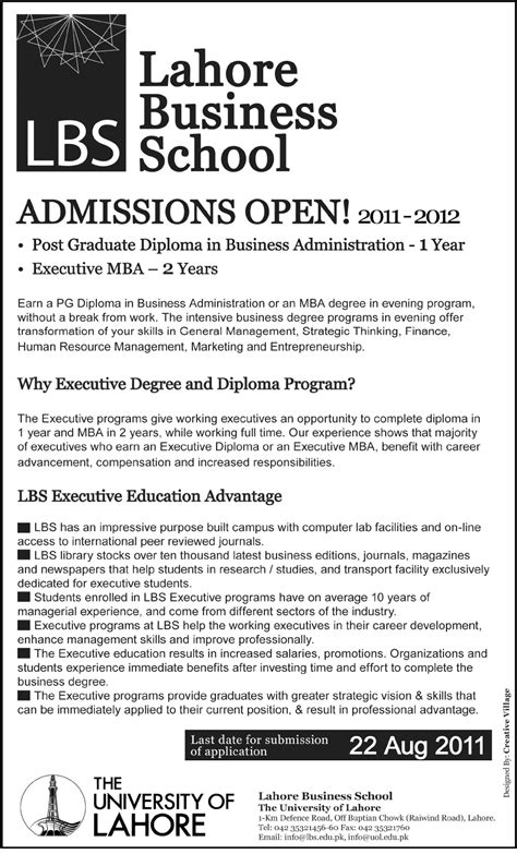 Mba In Lahore by Lbs Admissions Dba Mba Lahore Business School