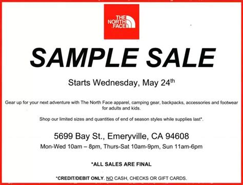 north face sample sale san francisco