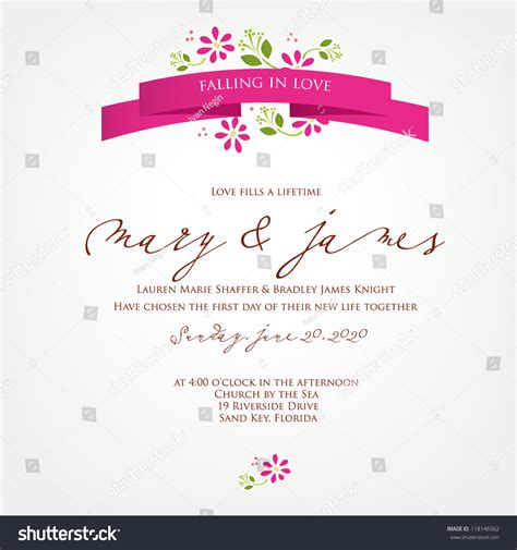 Wedding Invitation Letter Vector Wedding Card Invitation Abstract Floral Background Stock Vector 118146562