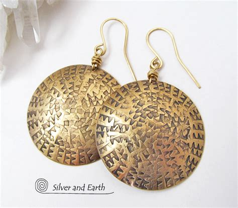Unique Handmade Silver Jewelry - big bold gold brass dangle earrings unique handmade