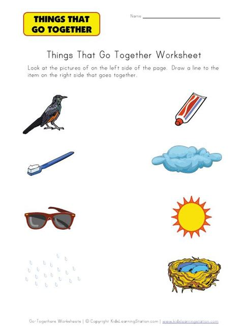 things that go together worksheet family day care