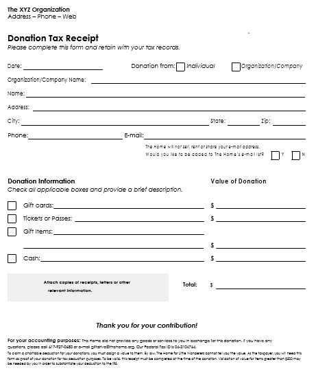 tax donation form template donation receipt template 12 free sles in word and excel