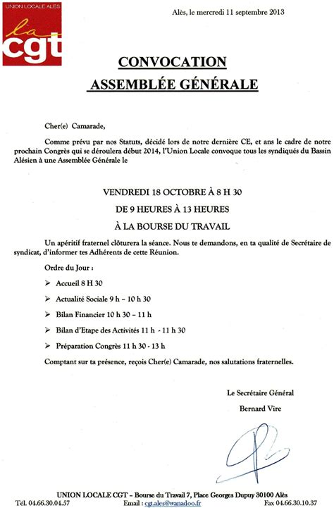 Exemple De Lettre Pour Cooperative modele de lettre pour assemblee generale association