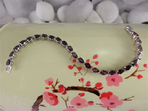 Handmade Sterling silver bracelet with red Tourmalines gemstones.   90 eur.   Jewellery Gems