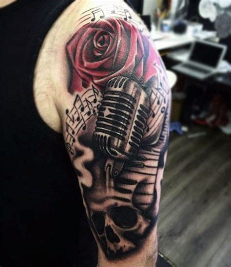microphone rose tattoo 90 microphone designs for manly vocal ink