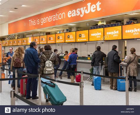 the easy jet budget airline check in desk at gatwick
