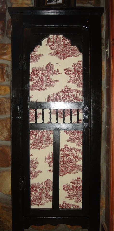 small pantry  screen door  toile fabric liner