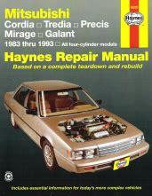 manual repair free 1987 mitsubishi cordia auto manual 1983 1993 mitsubishi cordia tredia precis mirage galant haynes repair manual