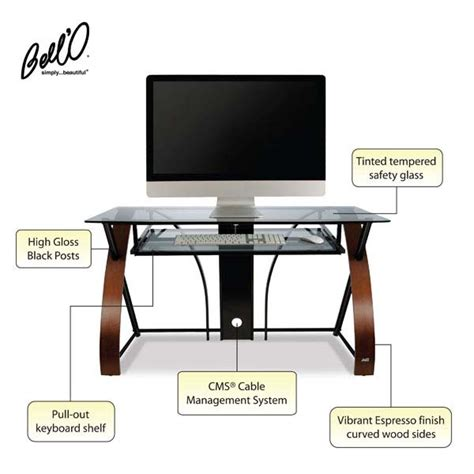 bell o computer desk bello glass computer desk with curved wood sides