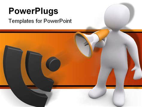 powerpoint templates for announcements 3d person holding a bullhorn making an announcement