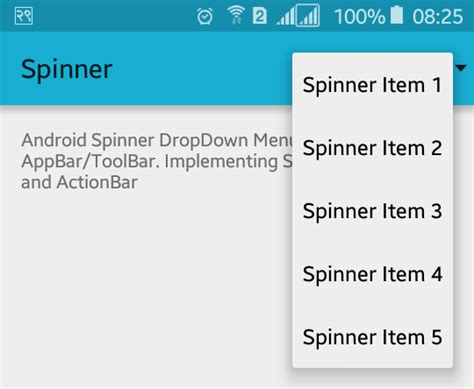 toolbar layout xml how to add spinner dropdown list to android actionbar