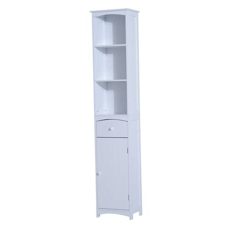 Free Standing Storage Cabinet Homcom Bathroom Storage Cabinet Free Standing Shelving Cupboard White Pop Up Deals