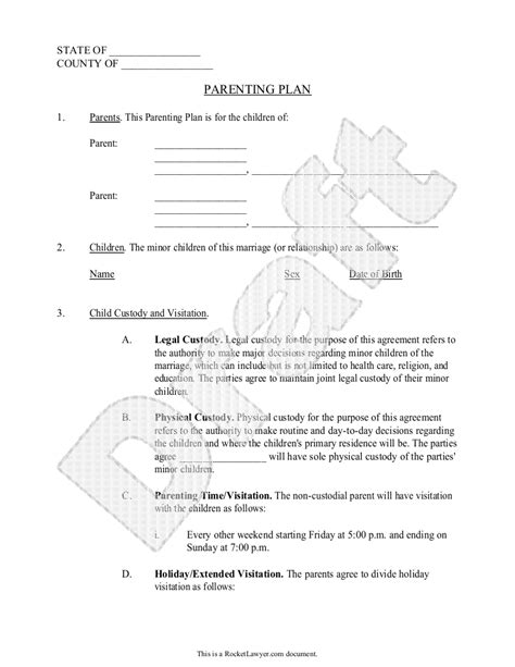 child visitation agreement template parenting plan child custody agreement template with