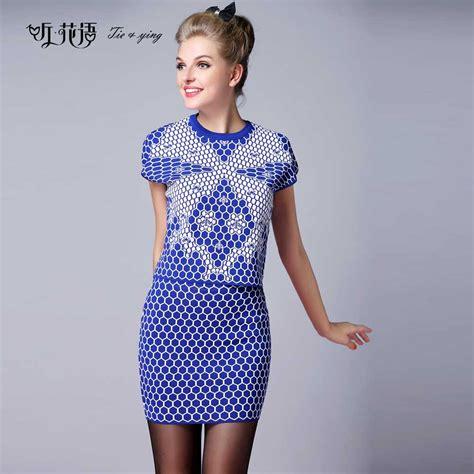 Dress Anak Set 6 2015 autumn winter set plus size knitted bees slim waist skirt set fashion dress design