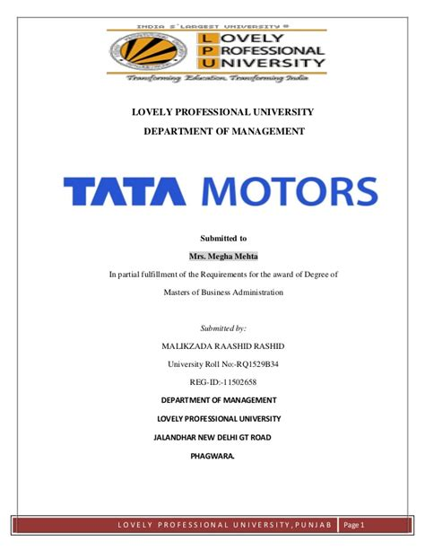 Capital Structure Of Tata Motors Mba by Hr Practices Of Tata Motors Malikzada Raashid