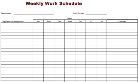 printable work schedule template schedule templates for employees weekly calendar