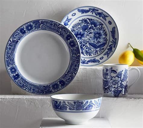white pattern dinnerware elsie 16 piece dinnerware set pottery barn