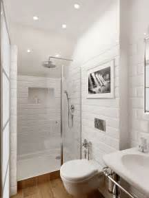 All For Bathroom Small Bathroom Big Space White Brick Timber Flooring