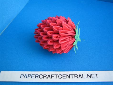 3d Origami Strawberry - origami 3d origami strawberry fruit modular paper