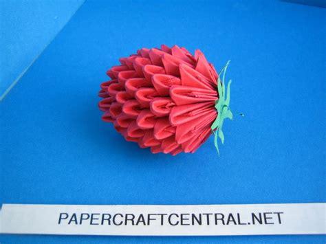 3d Origami Strawberry - origami 3d origami strawberry fruit modular paper